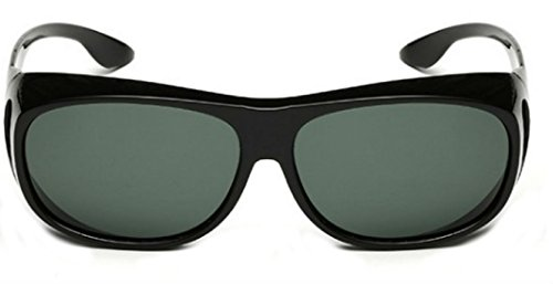 My Shades - Polarized Fit Over Sunglasses Wear Over Prescription Glasses Driving Outdoor Activities (Black Gloss, Smoke)