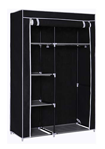 HomeLike Portable Clothes Closet Storage Wardrobe Closet Organizer Storage Closet with NonWoven Fabric and Hanging Rod SpaceSaving Organizer Cabinet 145Black