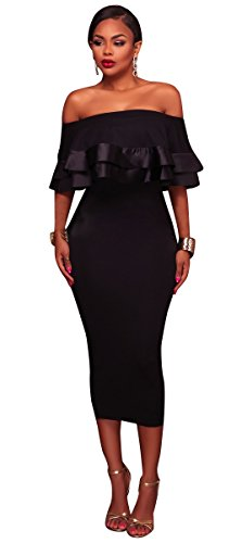 Cocktail Ruffle Black Elegant Women Party Midi Off Dress Blansdi Shoulder The Bodycon 8CSZnqw1