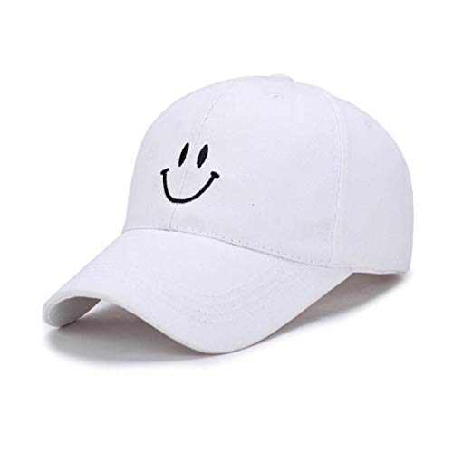 Cap Face Happy (Smiling Baseball Cap Adorable Sun Caps Fishing Hat for Men Women Unisex-Teens White)