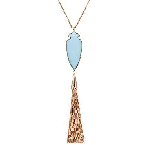 (ALEXY 2Pcs Long Chain Pendant Necklace Set, Filigree Quatrefoil and Celtic Knot Pendant Tassel Y Necklaces for Women (I 1PC Sky)