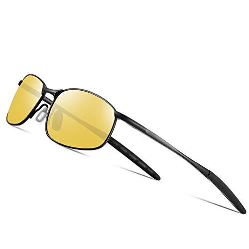 FEIDU Sport Mens Sunglasses HD Lens Metal Frame Driving Shades Night Vision FD 9005 (Yellow/Black, 2.24) (Amazon Tinted Sunglasses Yellow)