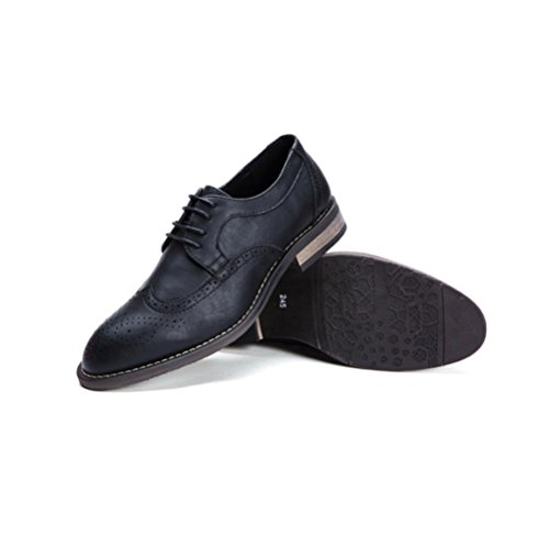 LYZGF Hommes Jeunes Affaires Occasionnels Mode Gentleman Sculpté Bullock Chaussures en Cuir Black1 EtaQtWHU