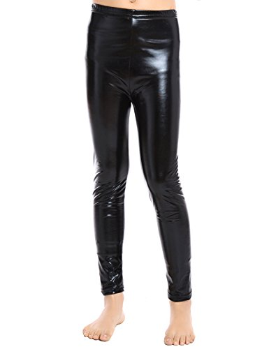 Shiny Slim Leggings (Black) - 4