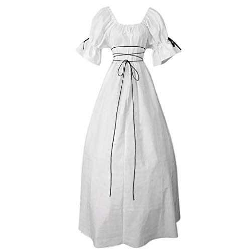 2019 Latest Hot Style! Teresamoon Women's Vintage Short Petal Sleeve O-Neck Medieval Dress Cosplay Dress White