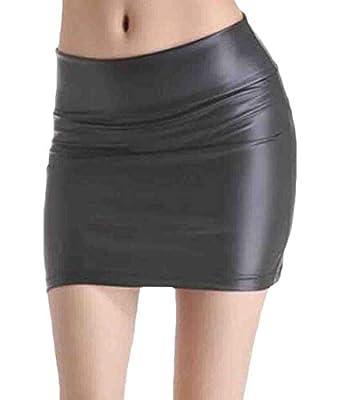KLJR Women Faux Leather Plus Size Bodycon High Waist Skirt