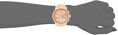 GUESS Women's U0330L2 Sporty Rose Gold-Tone Stainless Steel Watch with Multi-function Dial and Pilot Buckle