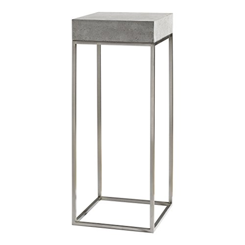 (Modern Silver Concrete Top Pedestal Table | Plant Stand Square Gray)