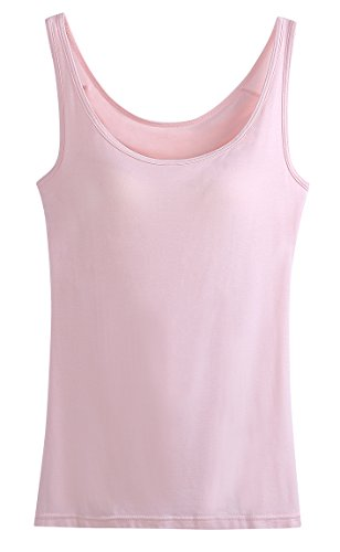 Jescakoo Ladies Stretch Built In Shelf Bra Yoga Tank Tops Lounge Cami Light Pink XL Soft Shelf Bra