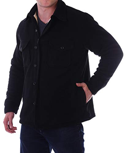 Woodland Supply Co. Men's Sherpa Fleece Lined Shirt Jacket (X-Large, Black)
