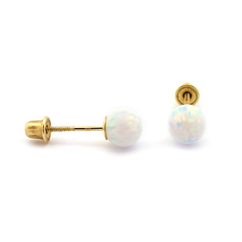 Sterling Silver White Simulated Round Opal Ball Stud Earrings with Baby Safe Screwbacks - 5mm Opal Ball Stud