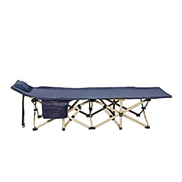 soges Folding Camping Cot, 74.8 x 29.5 inches Portable Outdoor Bed with Padded Pillow, Side Pocked, Light Weighted Widen Sleeping Bed CT-F14