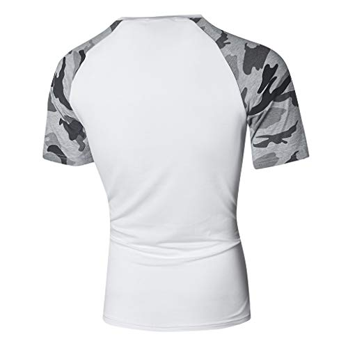 Imprimé Chemise Amlaiworld Shirt Hommes Courte Fit T Blanc Slim Manche Top Camouflage Couture Casual qIxBg7xw