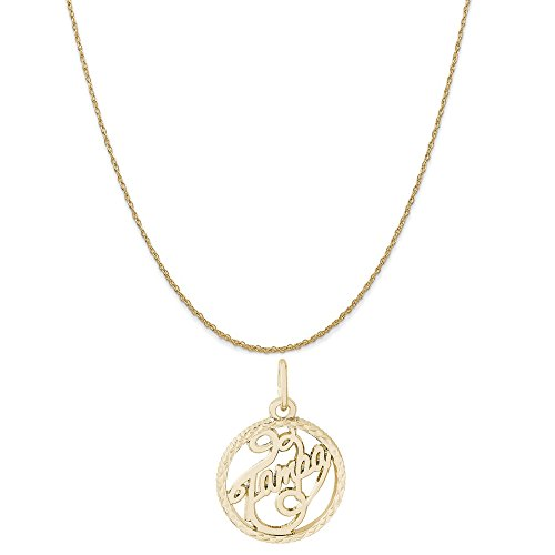 Rembrandt Charms 14K Yellow Gold Tampa Charm on a 14K Yellow Gold Rope Chain Necklace, 16
