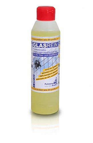 Profi-Glasreiniger, Konzentrat, 250 ml   Für Glatt- und Glasflächen   Fensterreiniger mit Lotuseffekt   Tierversuchsfreies Produkt von GlasRein