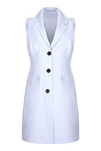 chaqueta hasta Azul cadera Claro mujer Mangas Crème Sin De La Verano primavera americana HqgwxzPR
