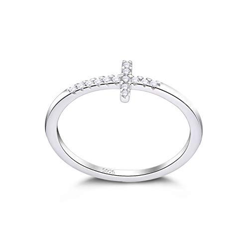 Lancharmed S925 Sterling Silver Cross Ring Dainty Stackable Sideways Rings Fine Jewelry for Women Girls Size 8 (Ring Cross Silver Sterling)
