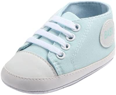 Canvas Classic Sports Sneakers Newborn Baby Boys Girls First Walkers Shoes Infant Toddler Soft Sole Anti-Slip Baby Shoes 13-18M Light Blue