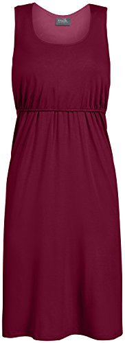 Milk Nursingwear U-shaped Neckline Everyday Nursing Dress, Merlot, S