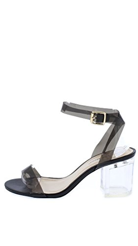 69b94a44aee8 Top Moda Ivan-1 Women s Lucite Clear Strappy Block Chunky High Heel Open  Peep Toe