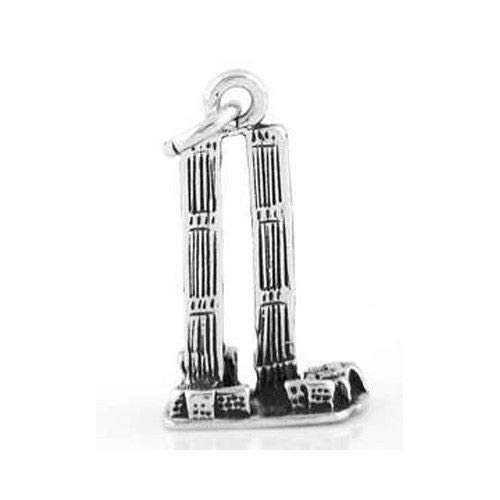 Sterling Silver 3D Twin Towers World Trade Center Charm Jewelry Making Supply Pendant Bracelet DIY Crafting by Wholesale Charms]()
