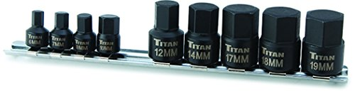 Titan Tools 16141 Low Profile Stubby Metric Hex Bit Socket Set - 9 Pieces ()