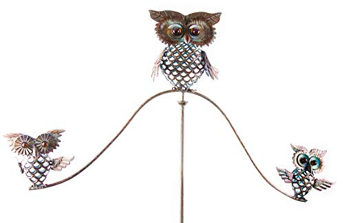 OSW Owl Metal Yard Art Garden Stake Wind Balancer, 52.5 Inch Tall Balancing Yard - Owls Rock
