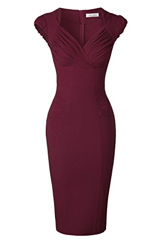 Newdow Lady's 50s Vintage V-Neck Capsleeve Pencil Dress (Medium, Burgundy)
