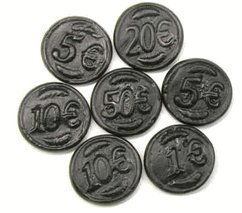Black Licorice Coins: 6.6LB Case by Gustaf's