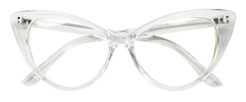 Basik Eyewear - Super Cat Eye Vintage Inspired Fashion Mod Clear Lens Sunglasses (Clear Frame, Clear - Cat Glases Eye