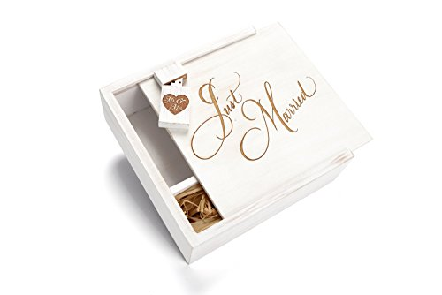 White Wash 16GB USB Flash Drive - 4 x 6 Photo Box. Holds 125 Photos - Inserted into a Engraved Matching Maple Photo Box with Raffia grass inside - Engraved Just Married Design