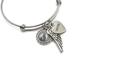 Custom Remembrance Bracelet - Photo, Angel Wing and Sterling Silver Charm, Loss of Sister, Brother, Mom, Dad, Son, Daughter, or Husband