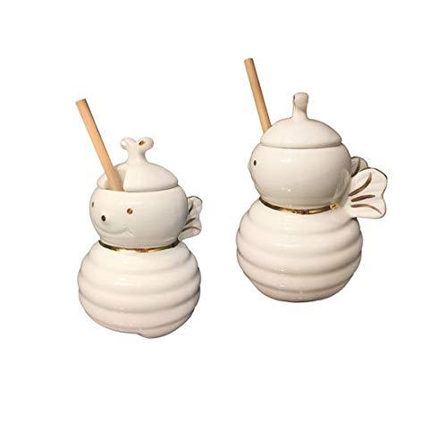 One Hundred 80 Degrees Porcelain Bee Honey Pot with Dipper (Honey Pot Porcelain)