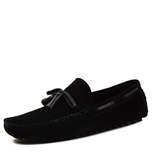 Zapatos De Conducción De Gamuza Casual Para Hombre Mocasines Comfort Mocasines Zapatos De Barco 022-2 Negro