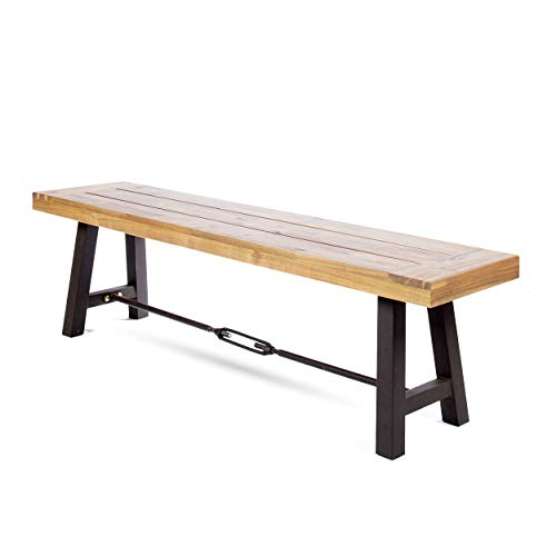 Christopher Knight Home Cana Outdoor Teak Finished Acacia Wood Bench with Rustic Metal Accents
