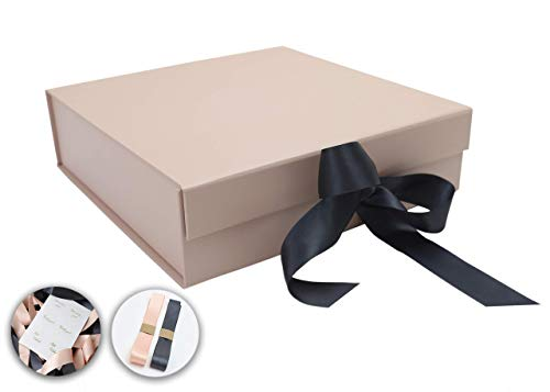 SketchGroup Gift Box with Ribbon and Lid for Luxury Packaging – Proposal Box – Sturdy Storage Box – Assortment l Black l l Pink l (Rose Gold)