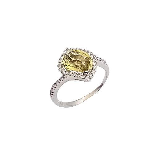 (Paracolor 18k White Gold Ring with Fancy Shape Lemon Quartz & White Diamonds)