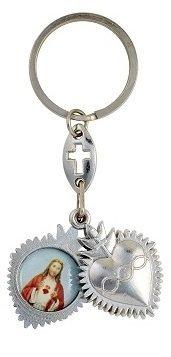 Silver Tone Sacred Hearts Sliding Heart Key Chain Accessory, 3 1/2 Inch