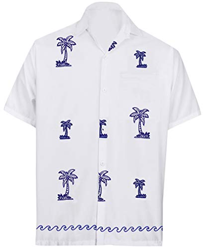 (LA LEELA Rayon Embriodered Beach Party Shirt White 64 Small | Chest 38