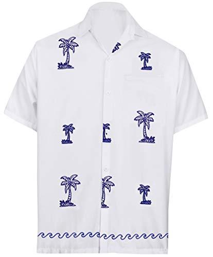 LA LEELA Rayon Luau Vacation Point Collar Shirt White 64 2XL |Chest 54