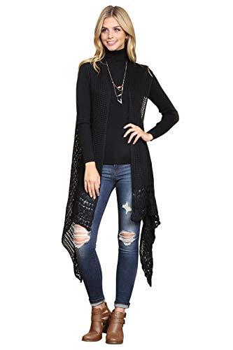 Crochet Sweater Knit Long Drape Vest Sleeveless Cardigan - Open Knitted Beachwear Bathing Swimsuit Bikini Cover Kaftan Shawl (Black) ()