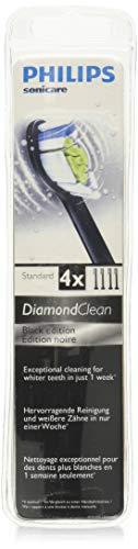 Genuine Philips Sonicare DiamondClean replacement toothbrush heads, HX6064/94, Black 4-pk