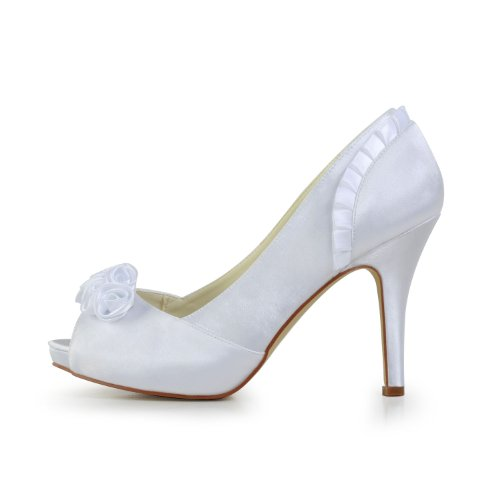 JIA JIA Damen Brautschuhe 37028 Peeptoe Stilett Absatz Satin Platform Pumps Satin Blume Hochzeitsschuhe Weiß