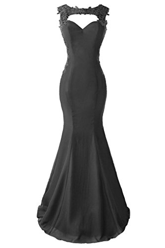 Topdress Women's Mermaid Prom Dress Lace Appliques Sheer Back Evening Gowns Black US 6