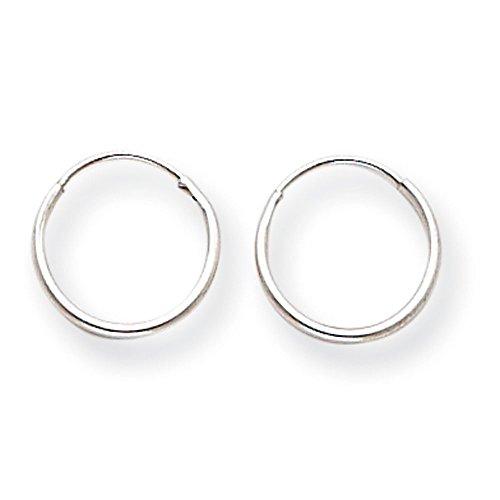 Or blanc 14 carats-Boucles d'oreilles anneau pour les enfants-Dimensions: 12 x 12 mm-JewelryWeb
