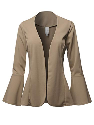 Casual Solid Collarless Bell Sleeve Open Blazer - Made in USA Tan 2XL ()
