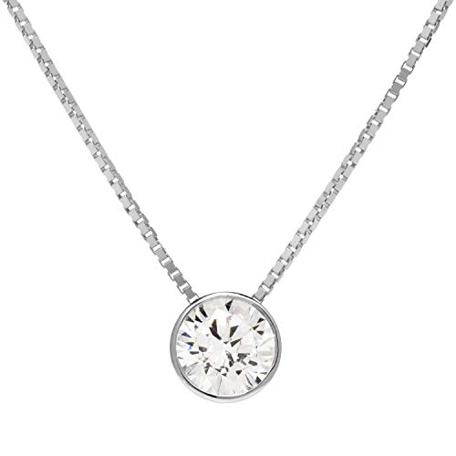 14K Solid White Gold Pendant Necklace | Bezel Set Round Cut Cubic Zirconia Solitaire | 1.25 Carat | 16 Inch 1.0mm Box Link Chain | With Gift Box