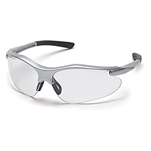 Pyramex Fortress Safety Eyewear – Superior Comfort and Fit – 99% Protection Against UV-A, B and C Rays – Glare and Scratch Resistant – Rubber Temple Tips – Adjustable Rubber Nose Pad – Rims Come in 1 of 3 Colors Including Silver, Black or Gray – Lenses