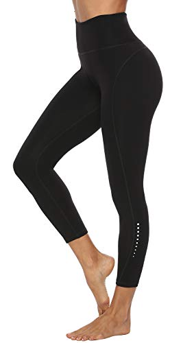 Edeey Gym Workout Leggings for Women High Waisted Yoga Exercise with 2 POCKETS Pants (Black M)