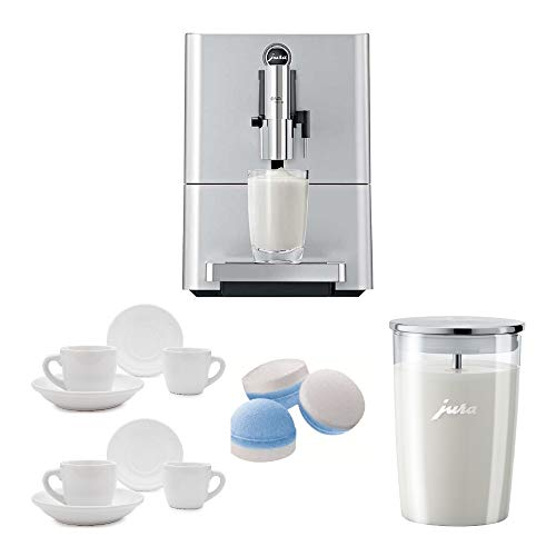 Jura 15116 ENA Micro 90 Espresso Machine, Micro Silver Includes Glass Milk Container, Cleaning Tablets and 2 Espresso Cups Bundle
